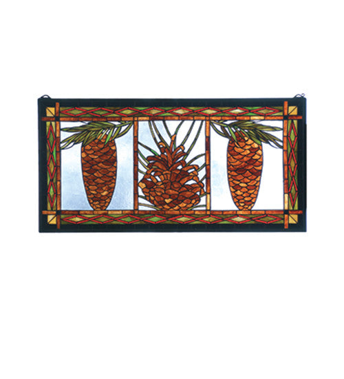 "36""W X 18""H Northwoods Pinecone Stained Glass Window"