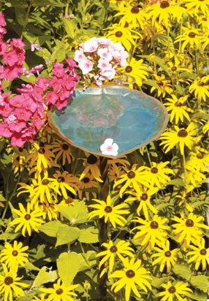 Antique Brass Aspen Leaf Birdbath