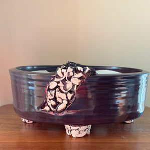 Brown Oval One of a Kind- Handmade Bonsai pot