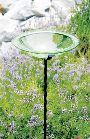 Fern Green Crackle Glass Bird Bath and Cradle