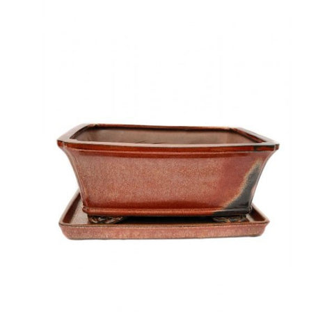 "10"" Red Rectangle Ceramic Glazed Bonsai Pot"