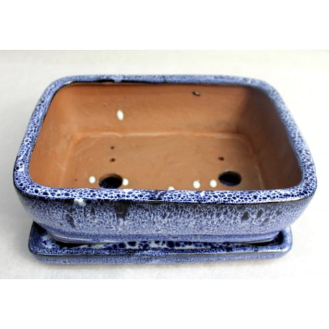 "8"" Blue Rectangular Ceramic Glazed Bonsai Pot"