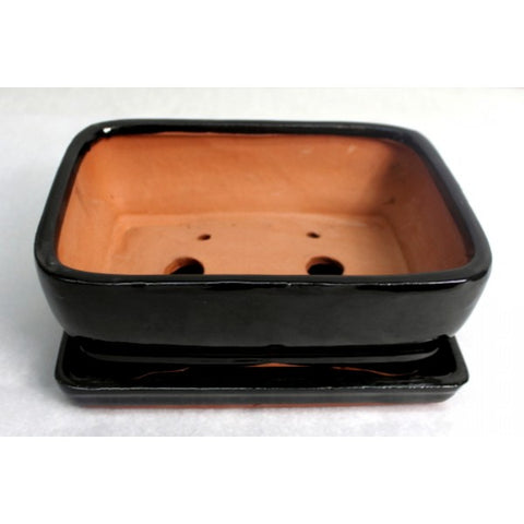 "7"" Black Rectangle Ceramic Glazed Bonsai Pot"