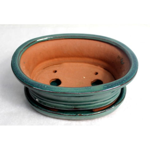 "7"" Green Oval Cermaic Glazed Bonsai Pot"