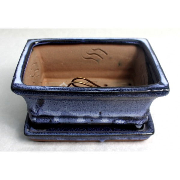 "6"" Blue Rectangular Ceramic Glazed Bonsai Pot"