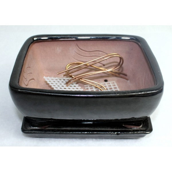 "6"" Black Rectangle Ceramic Glazed Bonsai Pot"