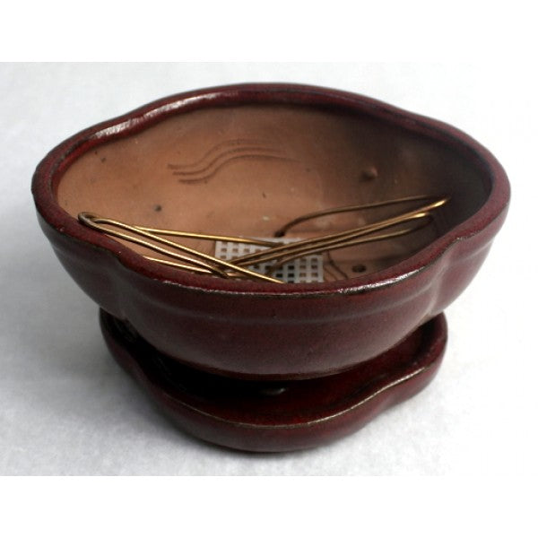 Red Glazed Styled Oval Ceramic Bonsai Pot 6""