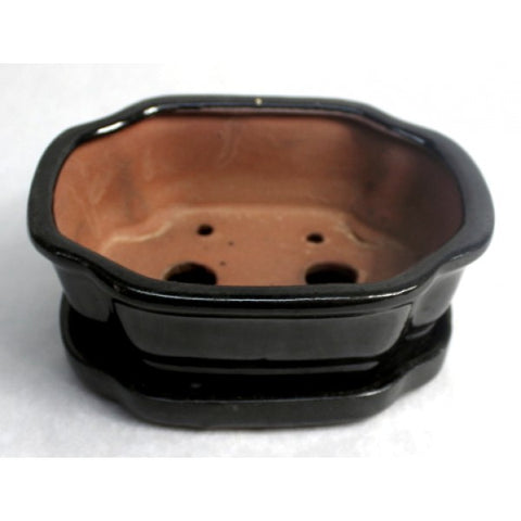 "6"" Black Styled Oval Pot"