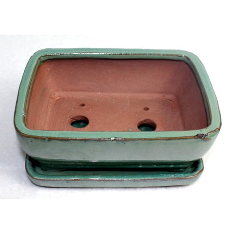 Teal Glazed Rectangular Ceramic Bonsai Pot 6""
