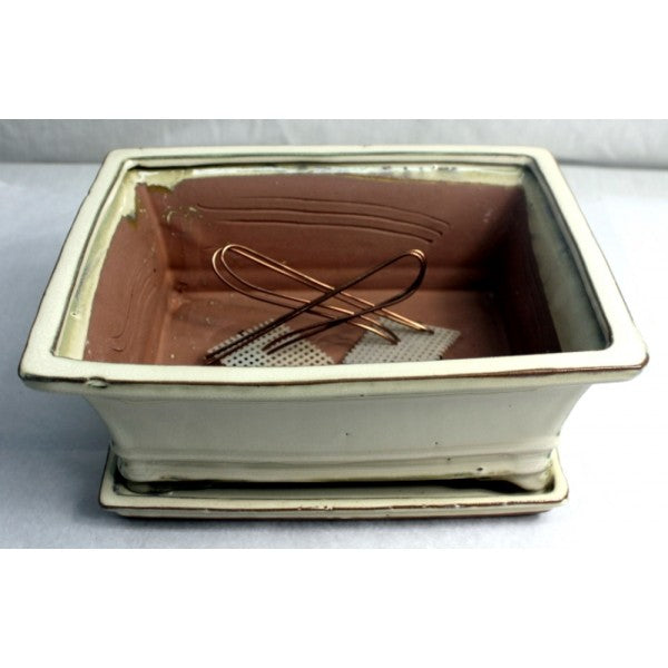 "10"" White Rectangular Glazed Bonsai Pot"