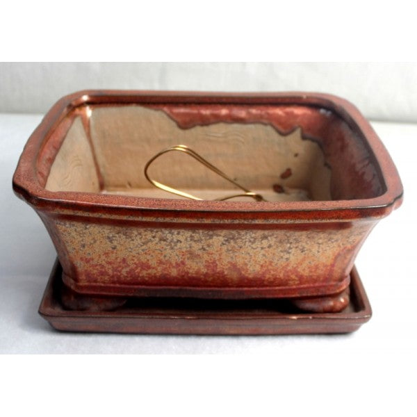 "10"" Bronze Rectangular Ceramic Glazed Bonsai Pot"