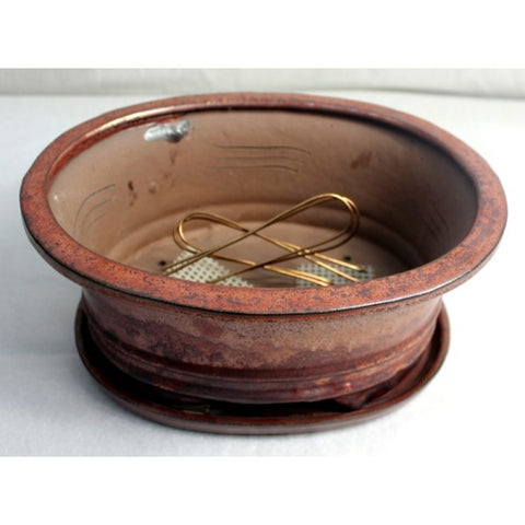 "10"" Bronze Oval Ceramic Glazed Bonsai Pot"