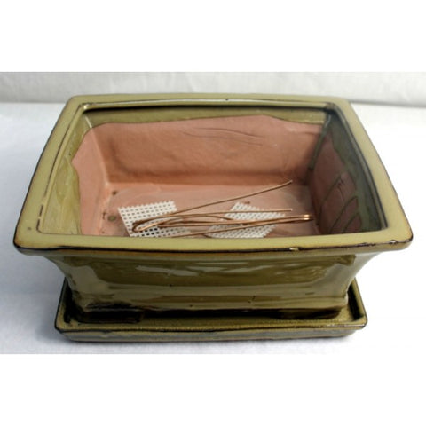 "10"" Olive Green Rectangle Ceramic Glazed Bonsai Pot"