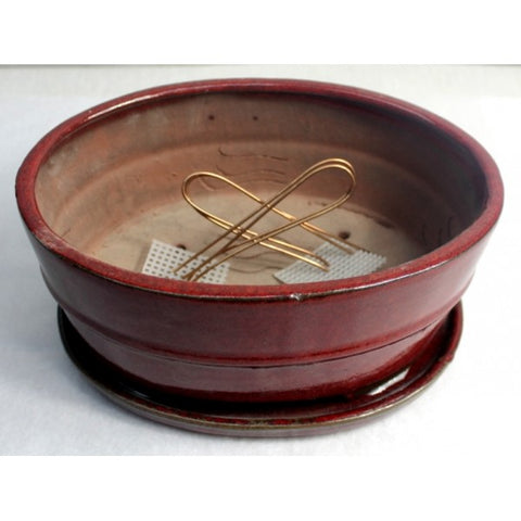 "10"" Red Oval Ceramic Glazed Bonsai Pot"