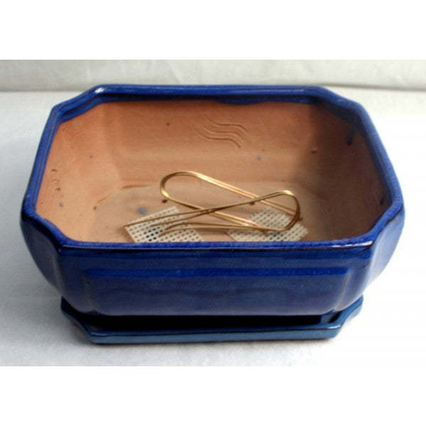 "10"" Blue Styled Oval Ceramic Bonsai Pot"