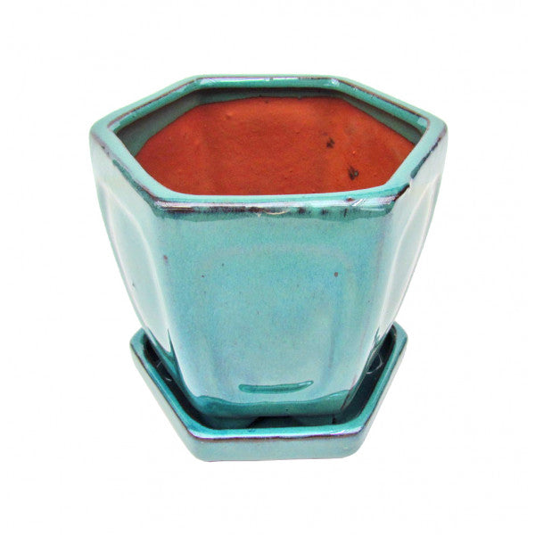 Cascade Glazed Ceramic Bonzai Pot (Teal) 8""
