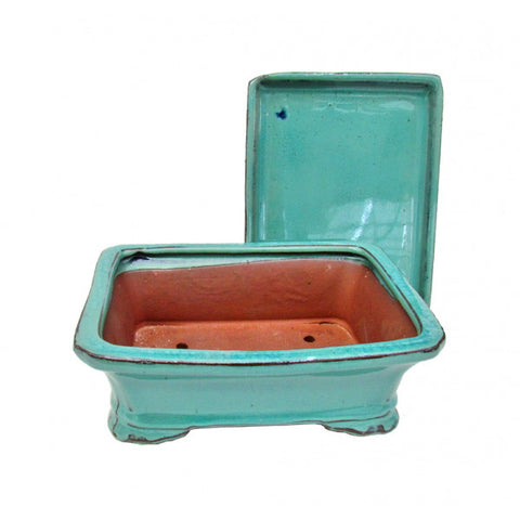 "7"" Teal Glazed Rectangular Detached Ceramic Bonsai Pot 7"""