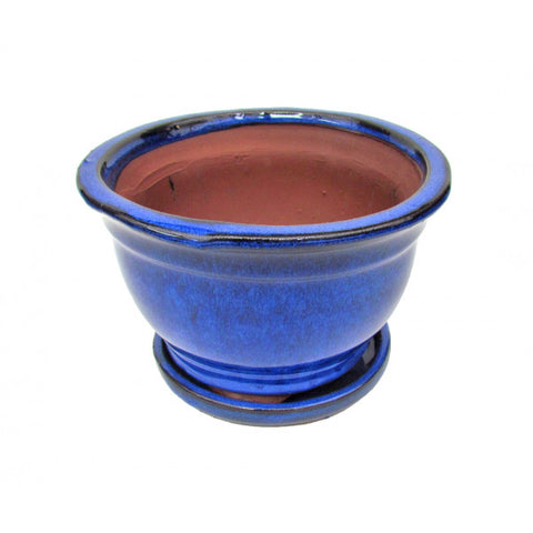Cascade Glazed Ceramic Bonzai Pot (Aegean) 8""