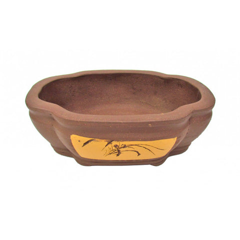 Unglazed Oval Ceramic Bonsai Pot 13""