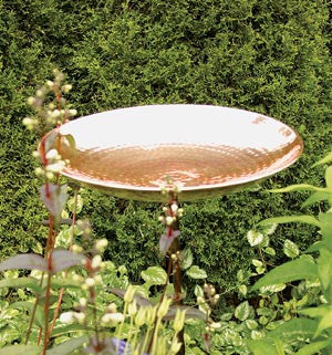 Polished Copper Birdbath