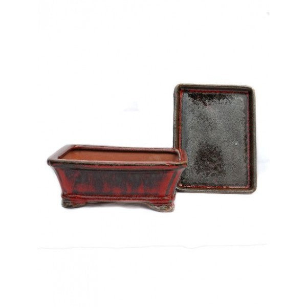 "Rectangular Detached Bonsai Pot 6"" (Fire Variation)"