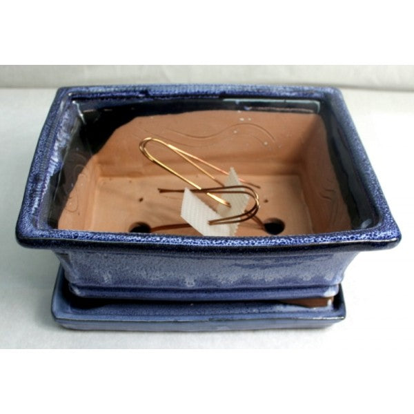 "10"" Blue Rectangular Ceramic Glazed Bonsai Pot"