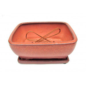 "8"" red fire Rectangle Ceramic Glazed Bonsai Pot"