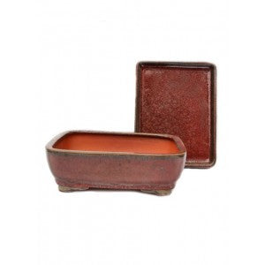 "8"" red Rectangular Ceramic Glazed Bonsai Pot"
