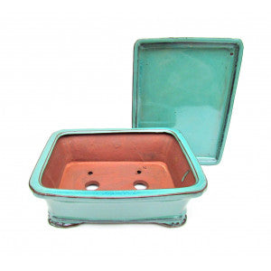 "Rectangular Ceramic Glazed Bonsai Pot 8"" (Teal Variation)"