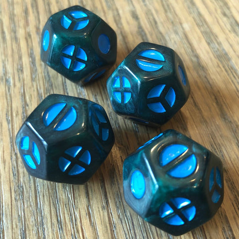 TripleFour: The Monty III - Pearl Blue/Gray T4 with Teal Symbols (4-pack); Limited Edition