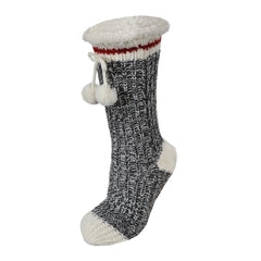 Ganka Slippers Socks Acrylic Knit Plush Pompom