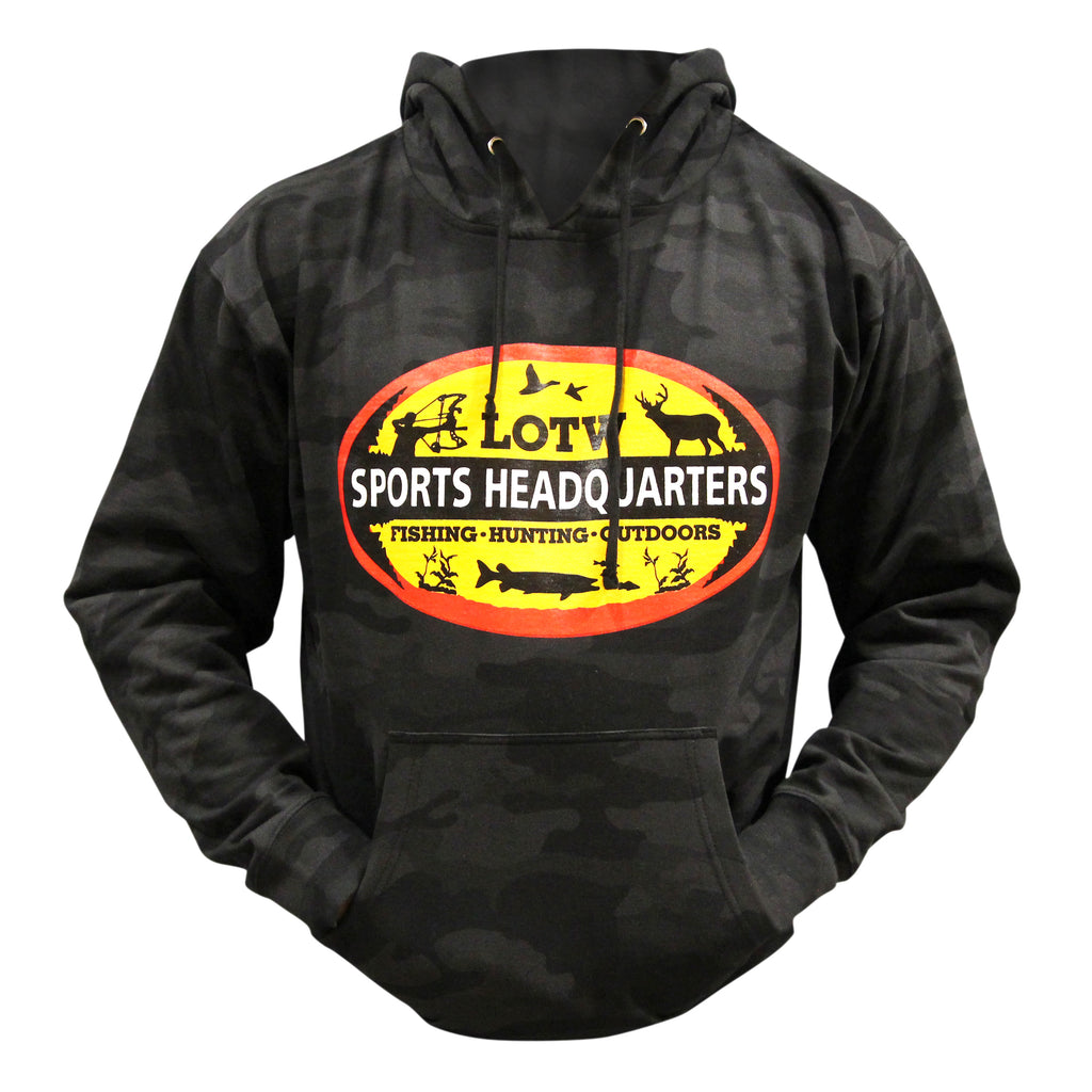 LOTW Sports Headquarters Adult Unisex Hoodie - Black Camo