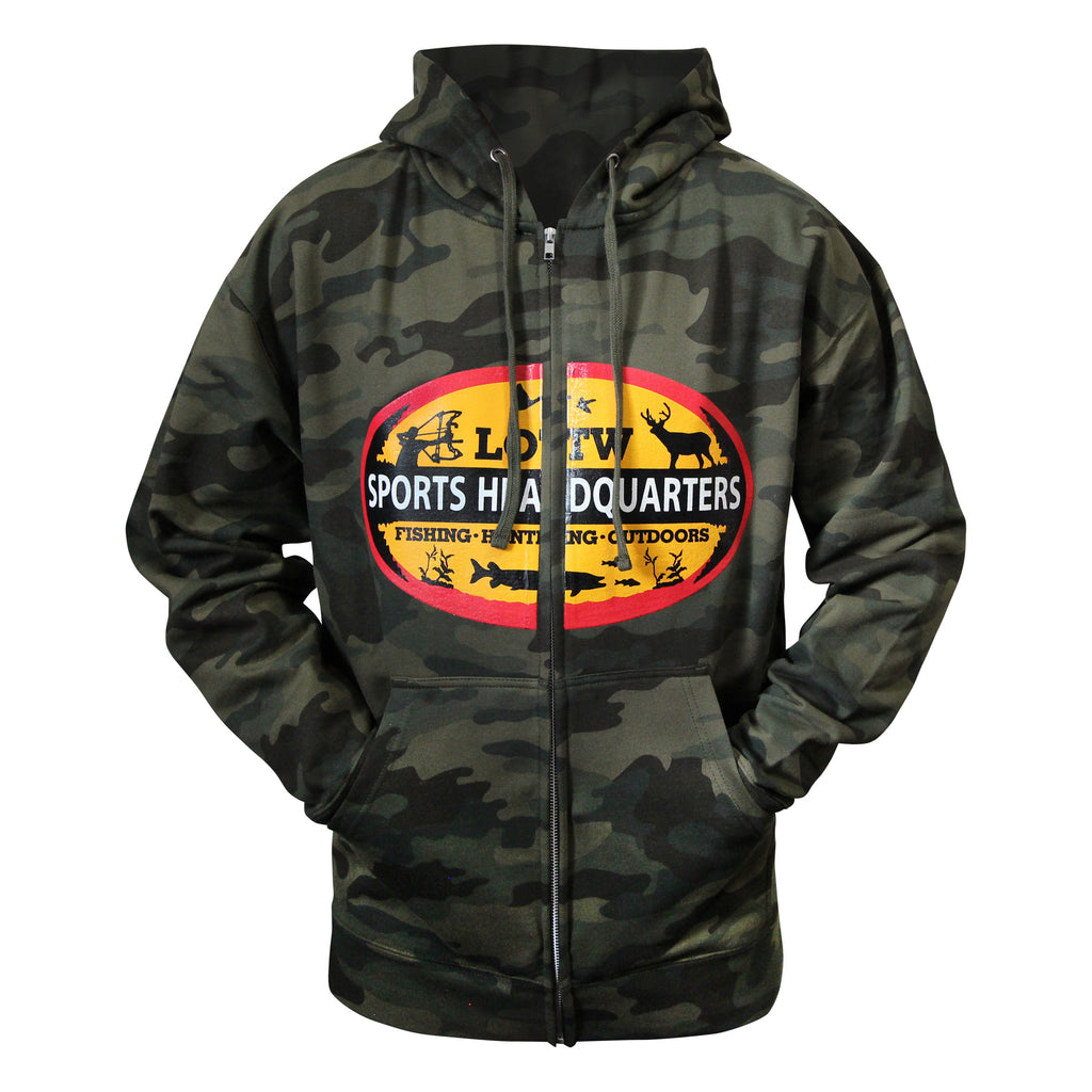 LOTW Sports Headquarters Adult Unisex Full-Zip Hoodie - Forest Camo