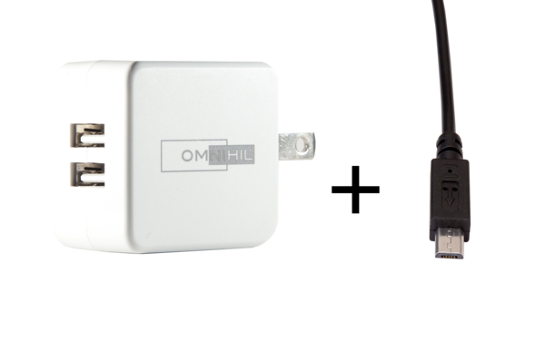 OMNIHIL Replacement 2-Port USB Charger+(15FT)MICRO-USB forNaztech Slim Mfi Certified Power Bank 3200mAH Power Supply
