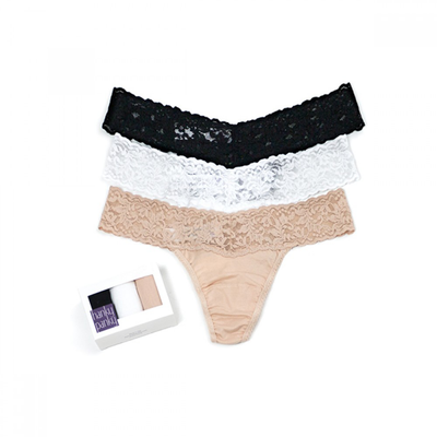 HANKY PANKY 3 PACK ORGANIC COTTON LOW RISE THONGS WITH LACE