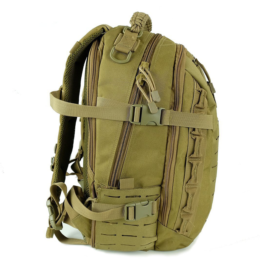 Saratoga Outdoor Equipment & Apparel Company Tactical Ops Military Tactical Army EDC Travel Assault Molle Backpack for Outdoor Hiking Camping Trekking Hunting - Tan