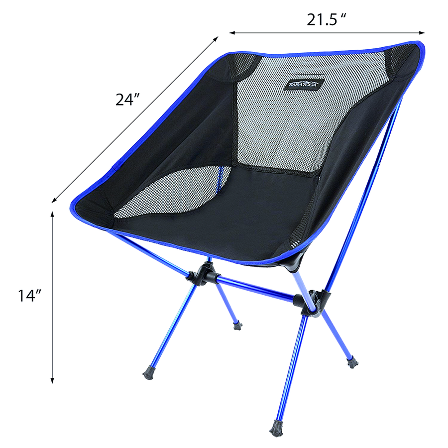 Saratoga Ultralight Portable Folding Camping Backpacking Chairs with Carry Bag For Outdoor Picnic,Hiking, Fishing, Camping, Garden BBQ, Beach -Royal Blue