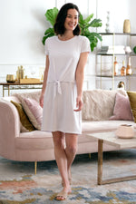 T-Shirt Dress w/ Tie Front Overlay