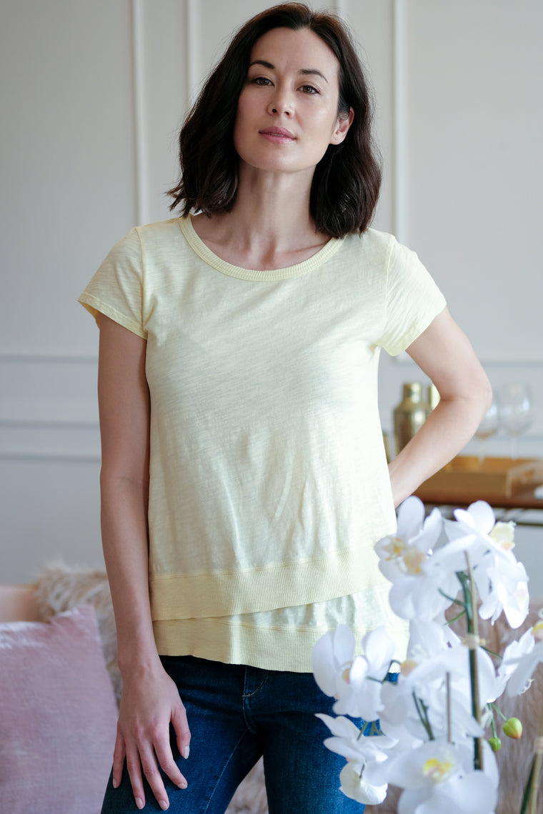 Short Sleeve Asymmetrical Rib Hem Tee