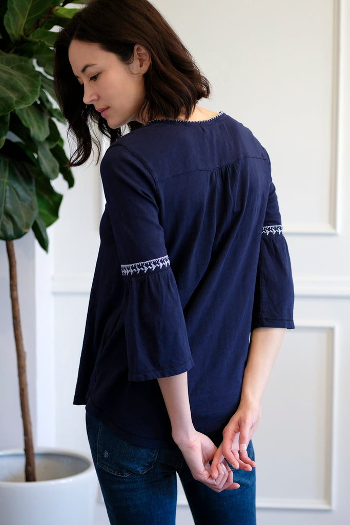 Embroidered Tee W/ Bell Sleeves - Mododoc