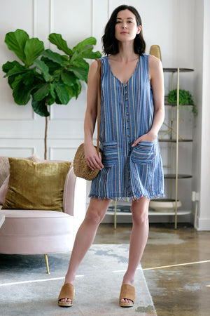 Button Front Tank Dress - Mododoc