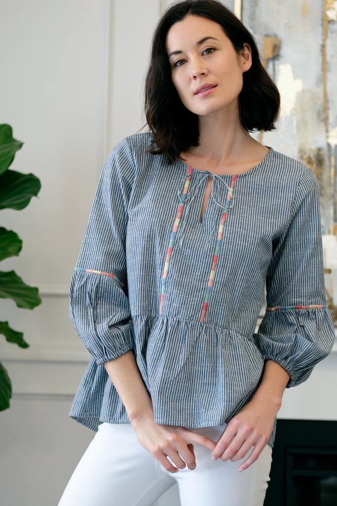 Embroidered Peasant Blouse - Mododoc