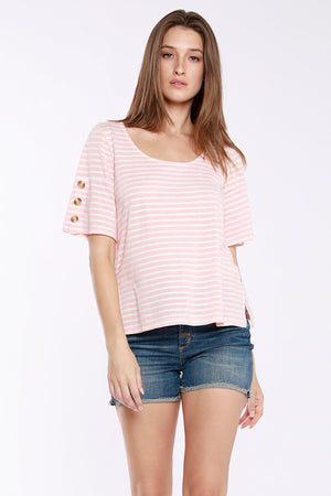 Scoop Neck Tee W/ Button Sleeves