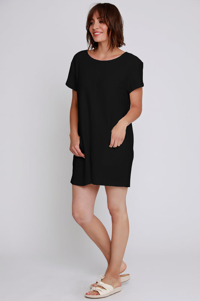 Short Sleeve Seamed Dress