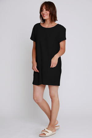 Short Sleeve Seamed Dress - Mododoc