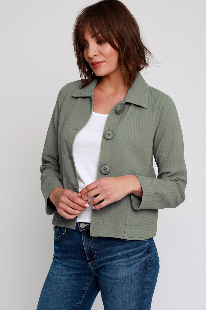 Button Front Patch Pocket Jacket - Mododoc