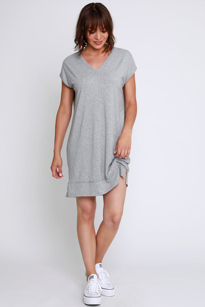 Short Sleeve Double V-Neck Dress
