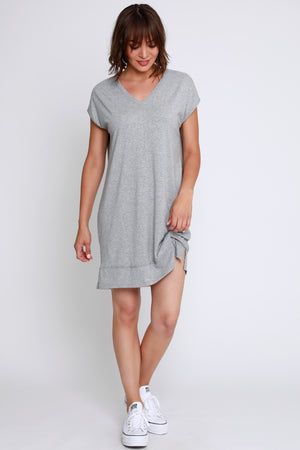 Short Sleeve Double V-Neck Dress - Mododoc