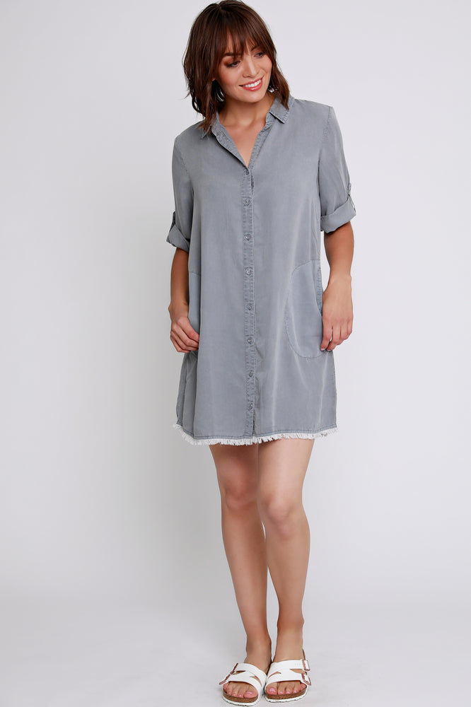 Button Front Dress w/ Frayed hem