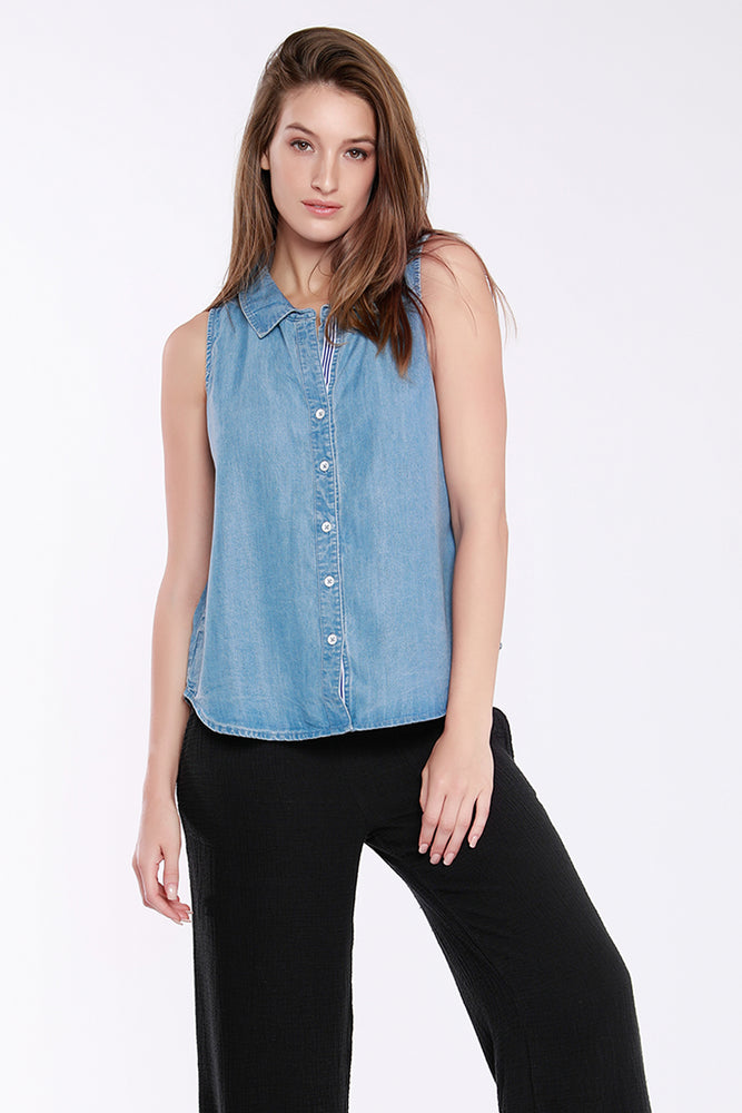 Sleeveless Botton Front Shirt